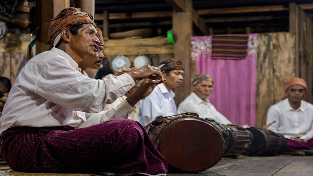 Local Manggaraian perform welcoming ritual