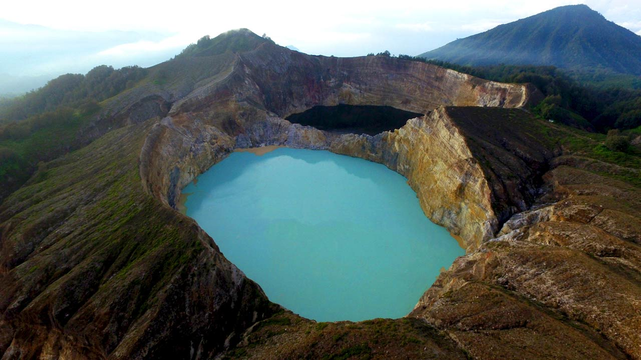 three color lake called kelimutu in flores indonesia